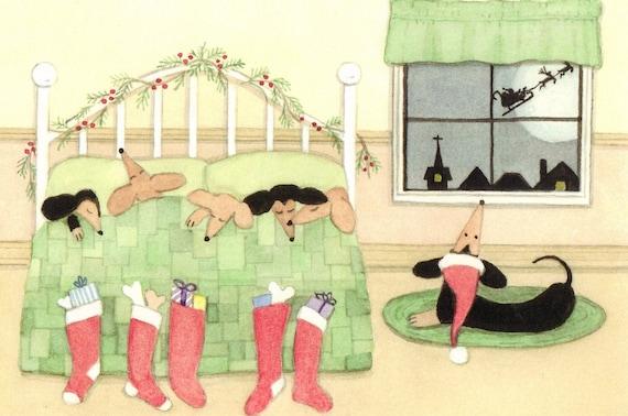Cards: Dachshund (doxie) family keeping eye out for Santa on Christmas Eve / Lynch folk art