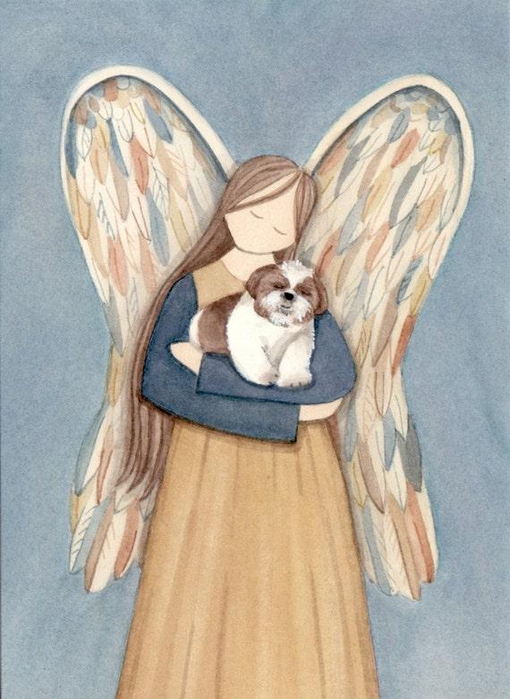 Angel and brown and white shih-tzu / Lynch signed folk art print