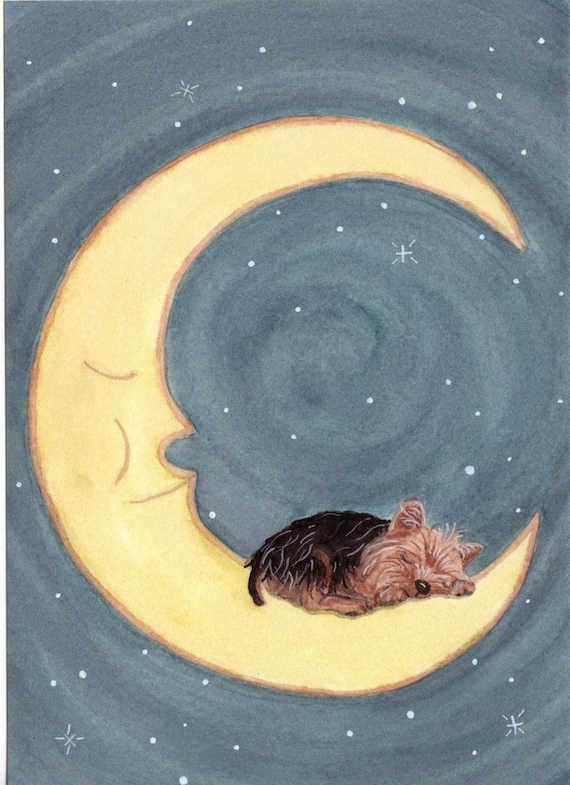 Yorkshire terrier (yorkie) sleeping on the moon / Lynch signed folk art print