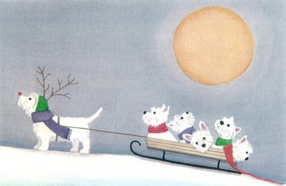 West highland terrier (westie) family takes a sled ride / Lynch signed folk art print
