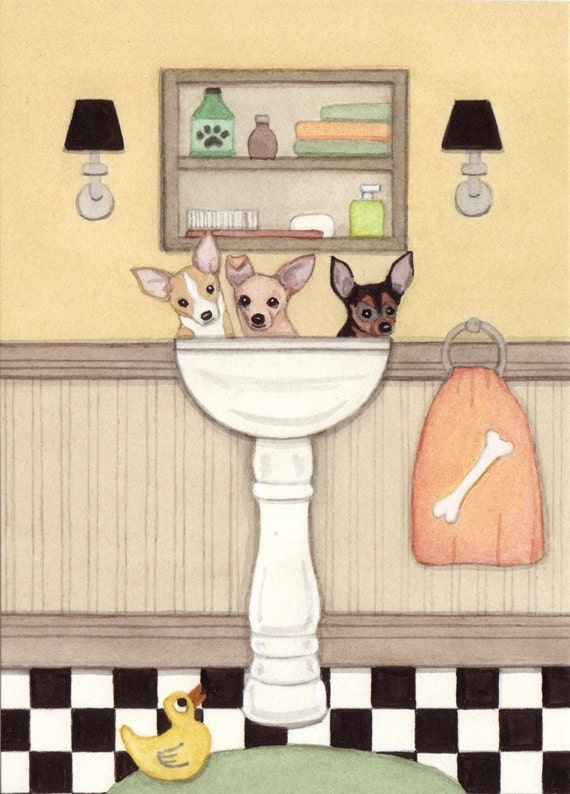 Chihuahuas fill a sink at bath time / Lynch signed folk art print
