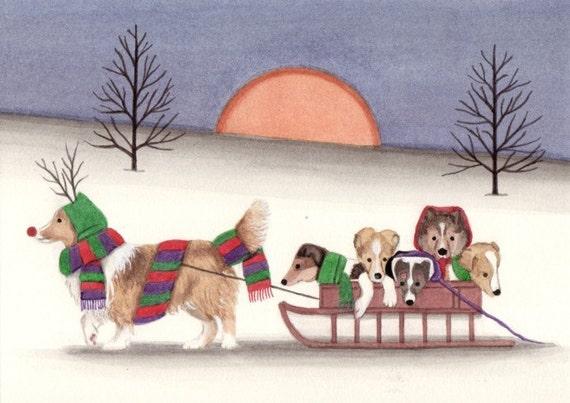 Christmas cards: Sheltie (shetland sheepdog) family going for sled ride / Lynch folk art