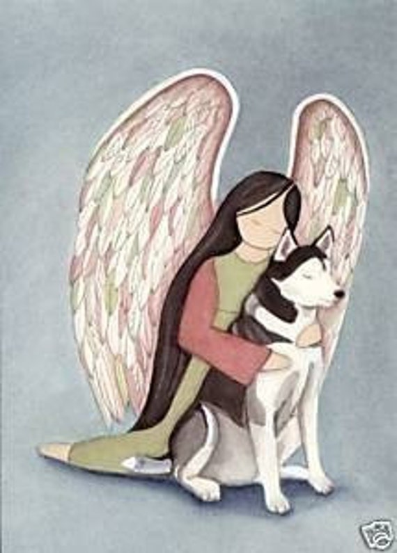 Siberian Husky with Angel / Signed Folk Art Lynch Print
