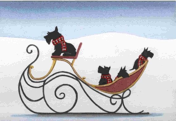 Scotties (scottish terriers) take a sleigh ride / Lynch signed folk art print