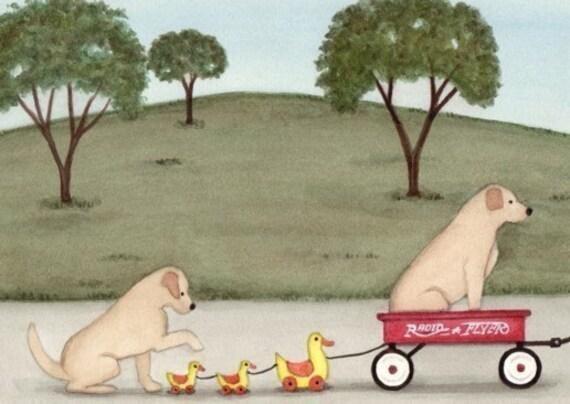 Yellow/Golden Lab/Labrador Retriever Wagon Ducks / Lynch signed folk art print