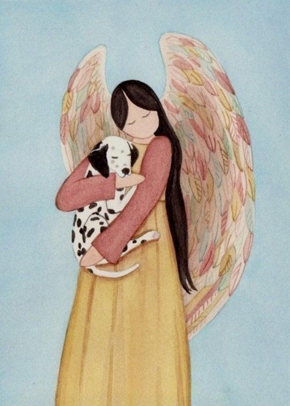 Dalmatian cradled by angel / Lynch signed folk art print Dalmation