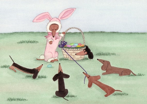 "Dachshunds (doxies) surround ""Easter bunny"" and basket / Lynch signed folk art print"