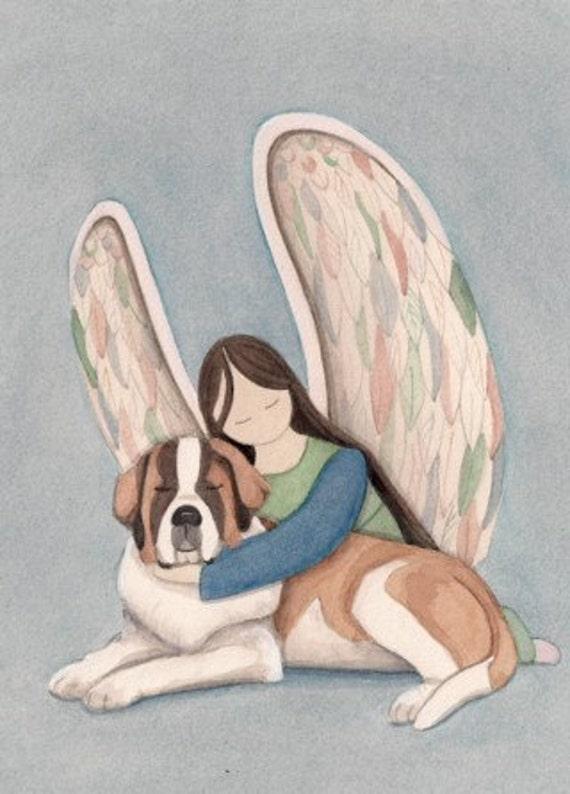 St. Bernard with angel / Lynch signed folk art print