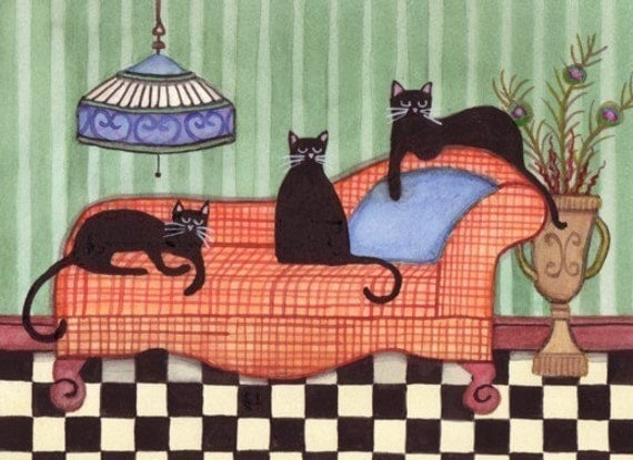 Black cats stand out on orange couch / Lynch signed folk art print