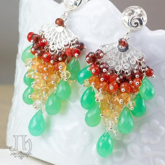 Mela earrings ... Chrysoprase, Mexican Fire Opal, Garnet, 925 Silver