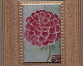 Red Dahlia Miniature framed watercolor shipped free - kate1031