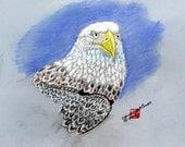 American Bald Eagle an original pastel painting FREE shipping