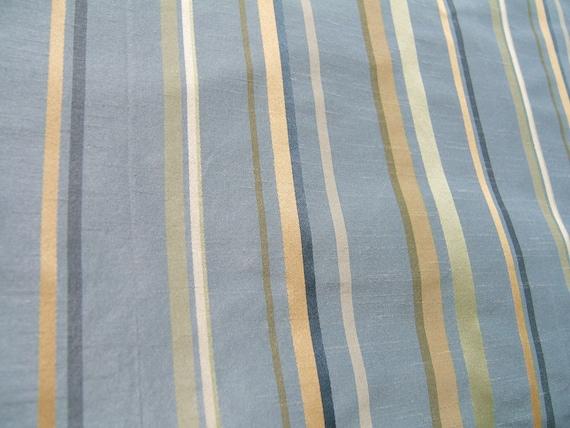 Blue Faux Silk Stripe Fabric Quarter Yard