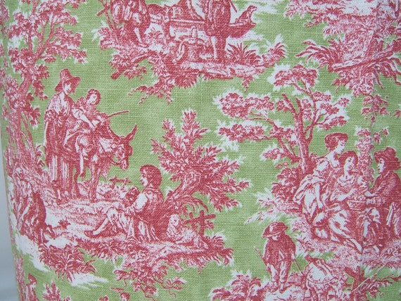 Apple Green And Raspberry Red Toile Fabric Half By Fabrichouse