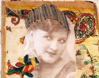 hold for mj - 1920s Flapper Altered Fabric Collage Clothing  Wearable Art BAG Purse