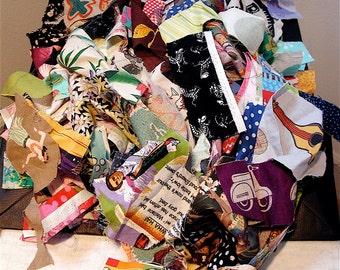 1 POUND Random Scraps of Fabric from My Bonny Collage Quilting Cotton Rags Remnants Salvage Fiber Textile  Assemblage Crazy Quilt Patchwork