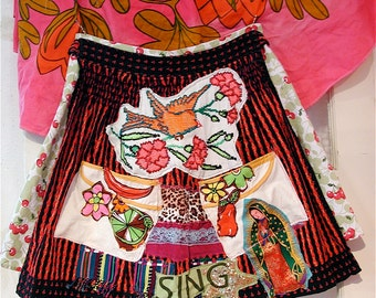 resered for kl - Mexican Art Folklore Folklore Upcycled SKIRT Apron-- myBonny vintage fabric collage