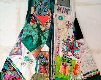 ALTERED UPCYCLED RECYCLED Collage Clothing Wearable Folk Art - Custom Made Jeans or Other Garment  // mybonny random scraps of fabric