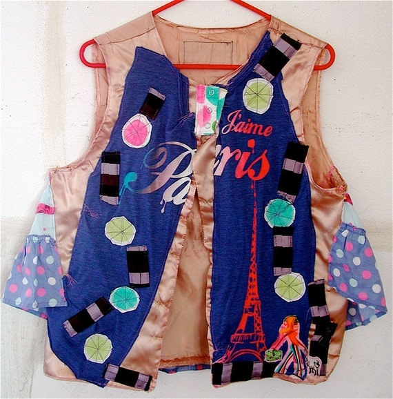 PARIS France Wearable Art Upcycled COUTURE M