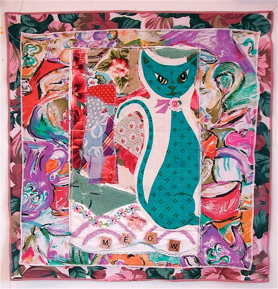 MEOW CAT Altered Fabric Collage ART Quilt