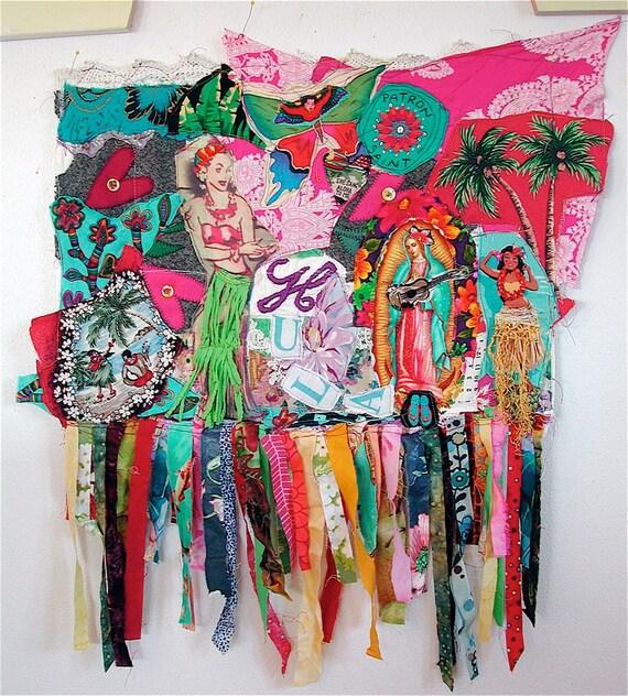 Hawaiian HULA GIRLS: Fiber Art Textile Assemblage