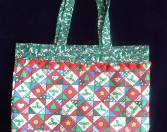 Holiday Tote, Christmas Patches, Cotton Reusable Gift Bag
