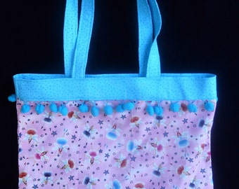 Ballet Tote, Pink/Blue, Ballerina Fairies Cotton Dance Bag