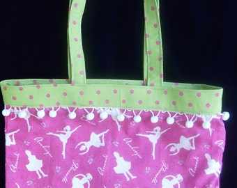 Ballet Tote, Pink/Green, Dance Terminology Tote Cotton Dance Bag