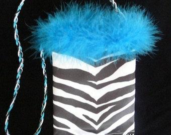 SmartBag, Zebra Stripe, Turquoise Marabou
