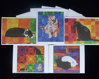 Cat Quilt Note Cards, blank, set of 5