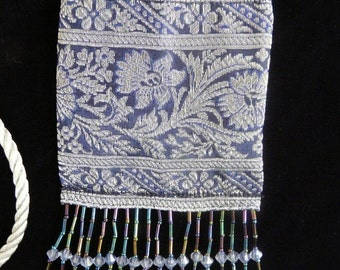 MiniPurse, Blue/Silver Floral Tapestry