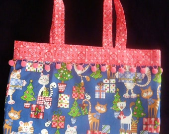 Holiday Tote, Bright Blue, Cats, Meowy Christmas, cotton reusable gift bag