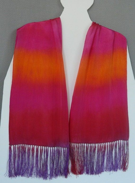 Silk Scarf, Red/Orange/Violet, Hand Dyed, Sunset