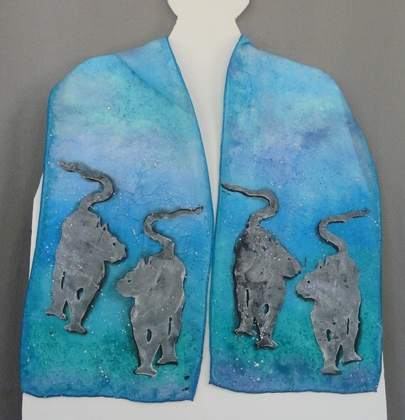 Silk Scarf, Handpainted, Blue/Turquoise, Icy Cats