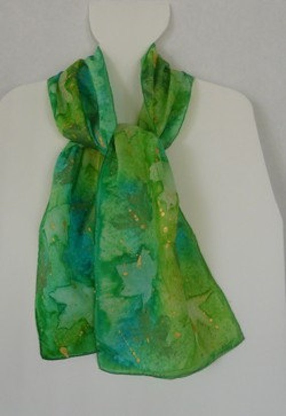 Silk Scarf, Handpainted, Greens and Golds