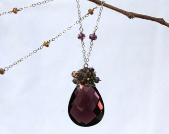 Aubergine/Plum Quartz with Sapphires and Topaz Necklace in Yellow 14K Solid Gold - SALE 50% OFF