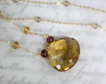 Citrine and Garnet Necklace in 14K Solid Gold - SALE 50% OFF