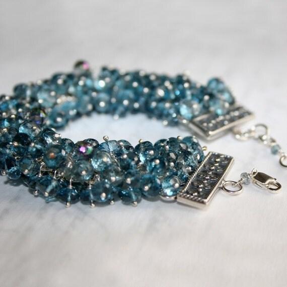 London Blue Topaz Bracelet, Cuff Bracelet in Solid Sterling - Breathtaking - SALE 50% OFF