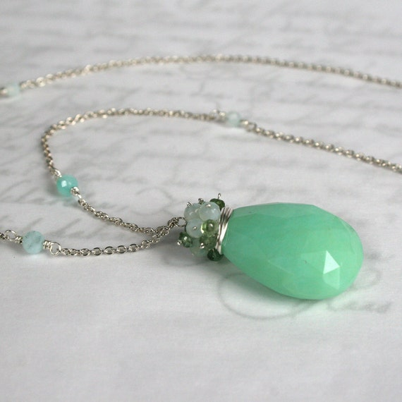 Glowing Aqua - Huge Blue Peruvain Opal and Green tourmaline Necklace in Solid Sterling Silver