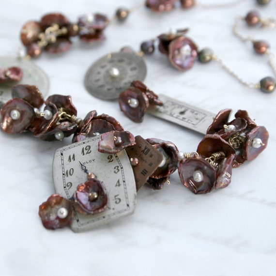 Necklace of Vintage watch faces, brown keshi pearls and seed pearls in gold - Take time to smell the flowers