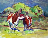 "Art Print Gouche Painting Cows Valentine Love Green Blue Brown Red Landscape Animal ""Waiting for Spring"" Smith-Dugan"