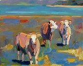 "Fine Art Print Cows ""Cows in Field"" Southwest Landscape Original S. Smith-Dugan"