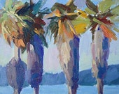 Fine Art Print Plein Air Painting 'Summer Palms' Landscape Modern Blue Purple Wall Hanging by Sandra Smith-Dugan