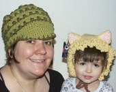 custom crochet cap and fingerless gloves for Fabric crazy only