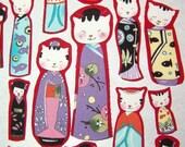 5 kitty kokeshi fabric applique grab bag