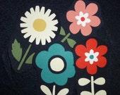 freeshipping 4 extra large flowers no sew fabric iron ons