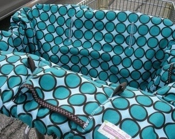 Boutique Shopping Cart Cover LAGOON ring dot TURQUOISE Shopping Cart Cover
