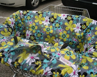 Boutique Shopping Cart Cover ...FAR OUT FLORAL grey Shopping Cart Cover