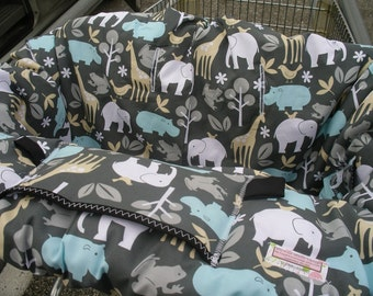 Shopping cart cover or High Chair Cover for boy or girl BABY ZOOLOGY SEA... Shopping Cart Cover
