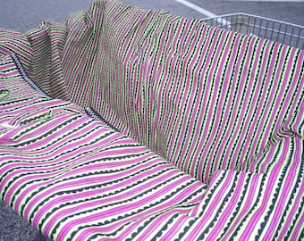 Shopping Cart Cover Pink and Green Stripe Mini Mooo Shopping Cart Cover